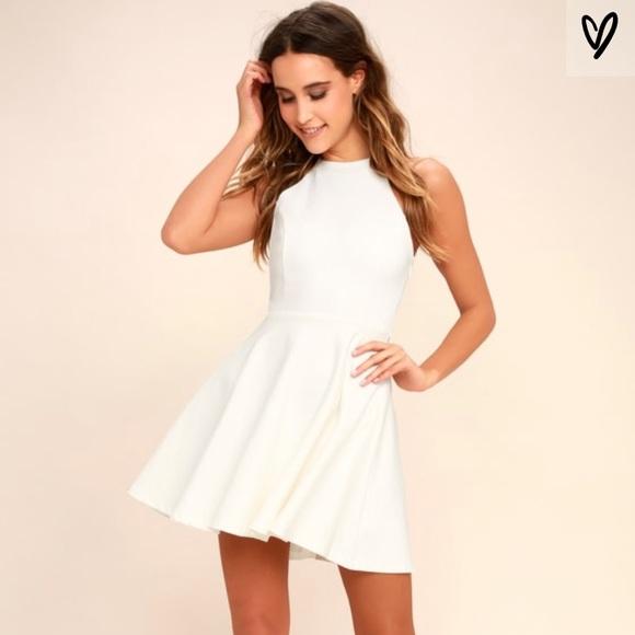 Delightful Surprise Ivory Skater Dress fc78d8a10